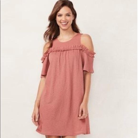 d9d8c3d3b70f6a LC Lauren Conrad Dresses | Ruffle Cold Shoulder Dress Med | Poshmark